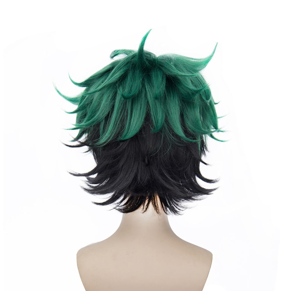 Short Green Color Halloween / Christmas Party Cosplay Wig for Men