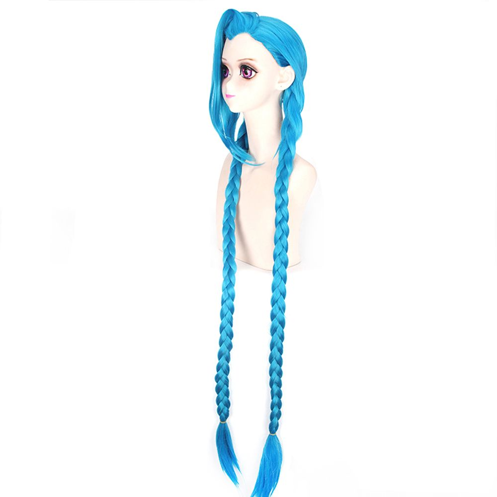 Blue Color Long Braid Women Hallowen Christmas Party Cosplay Wig