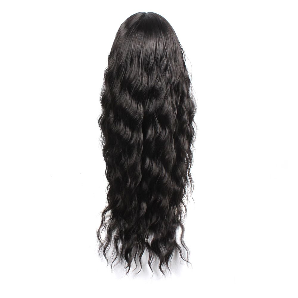 Black Color Synthetic Hair Body Wave Long Wigs with Side Bangs Celebrity Style Pelucas for Africa Women