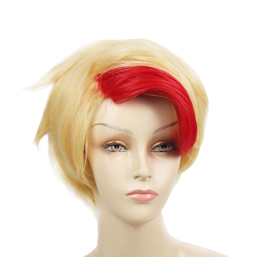 Short Red and Gold color Hair Heat Resistant Fiber Wig for Halloween Party