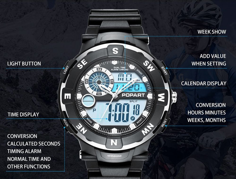 POPART POP831AD Trendy Sports Rubber Band Men Quartz Watch