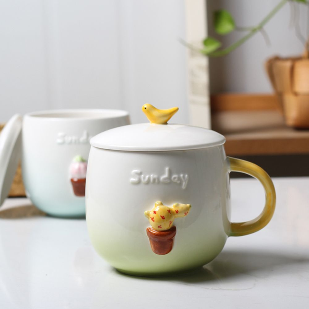 400ML Three-dimensional Miniature Potted Creative Ceramic Mug