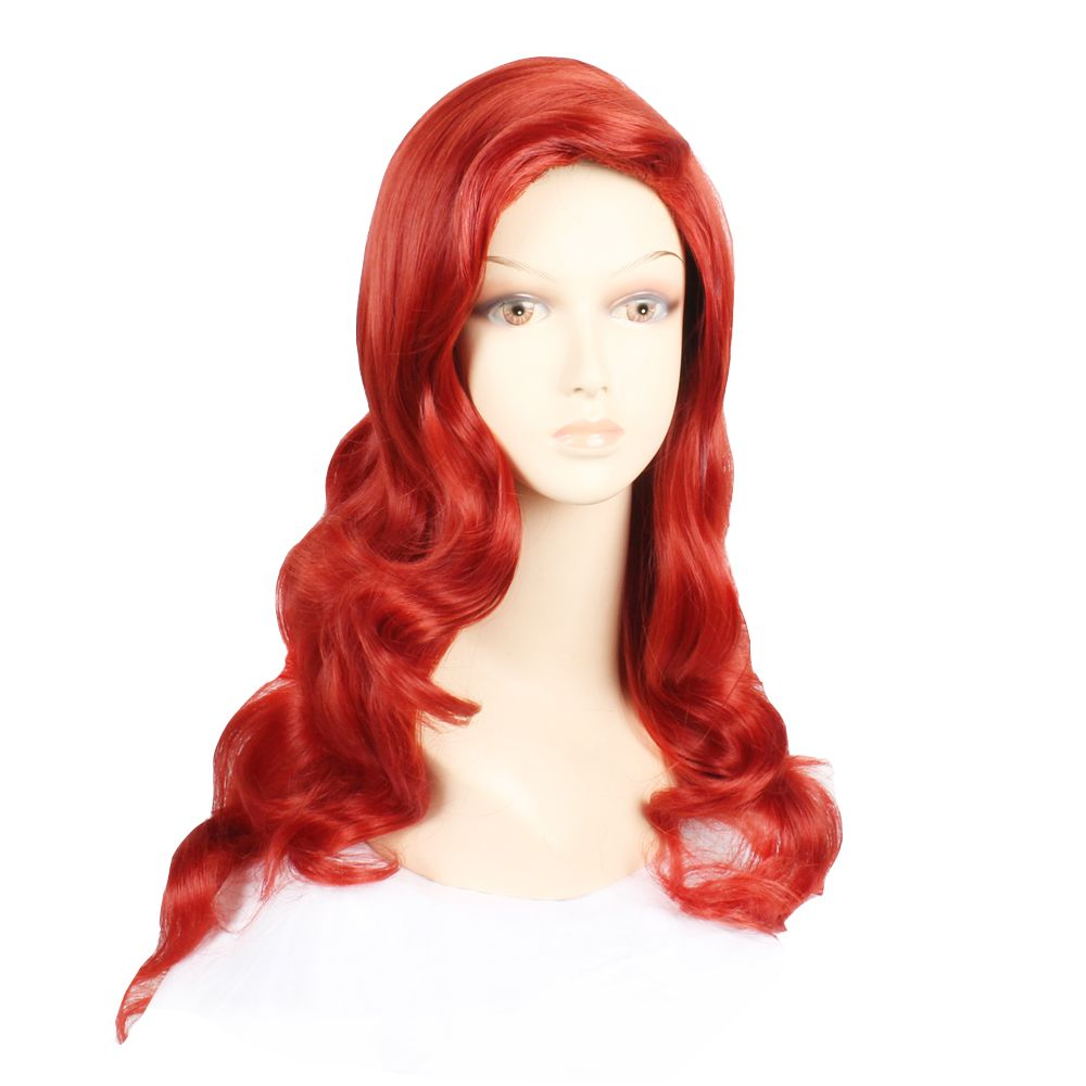 Fashion Style Synthetic Hair Long Wavy Red Wine Peruca Anime Cosplay Women's Wig