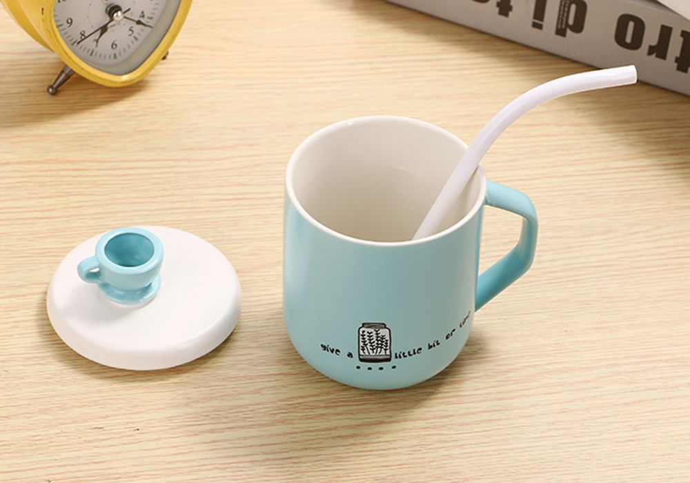 400Ml Straw Colored Glazed Candy-colored Ceramic Cup