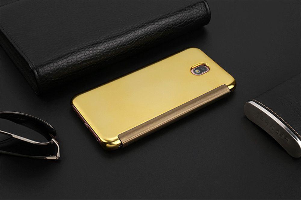 Leather + Hard Plastic Flip Plating Mirror Case for Samsung Galaxy J330 / J3 Pro Slim Phone Cover