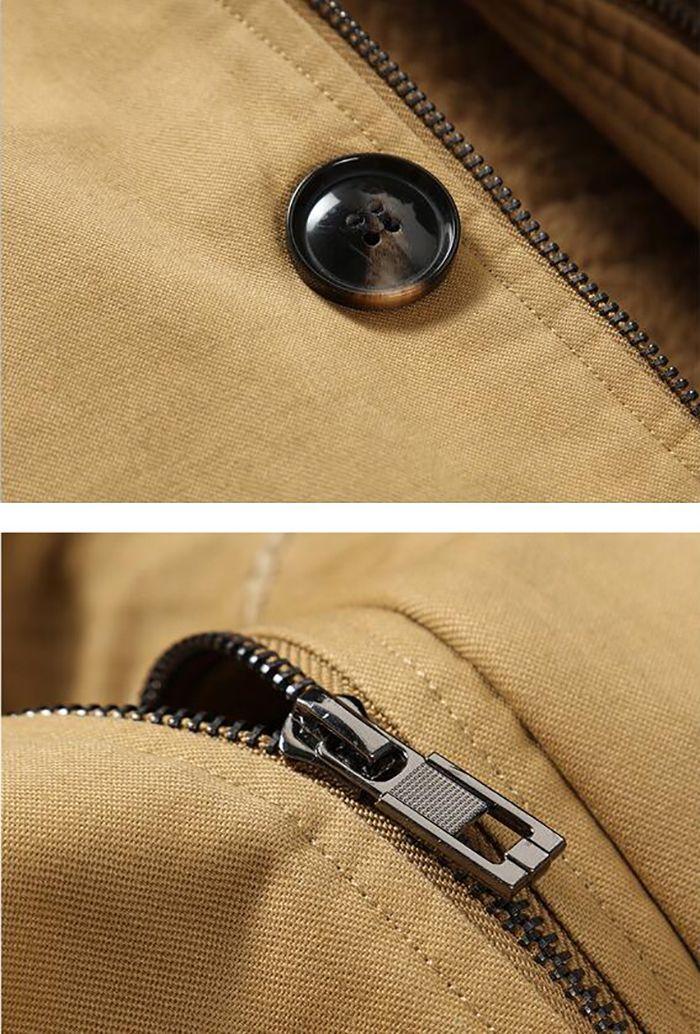 Men's Casual Fur Collar Coat Solid Hooded Fleece