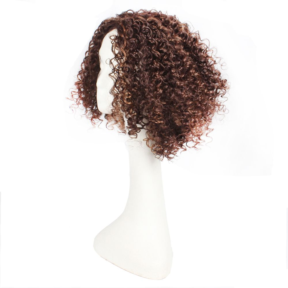 14inch Dark Brown Color Afro Tight Kinky Curly Synthetic Hair Wigs for African American Women