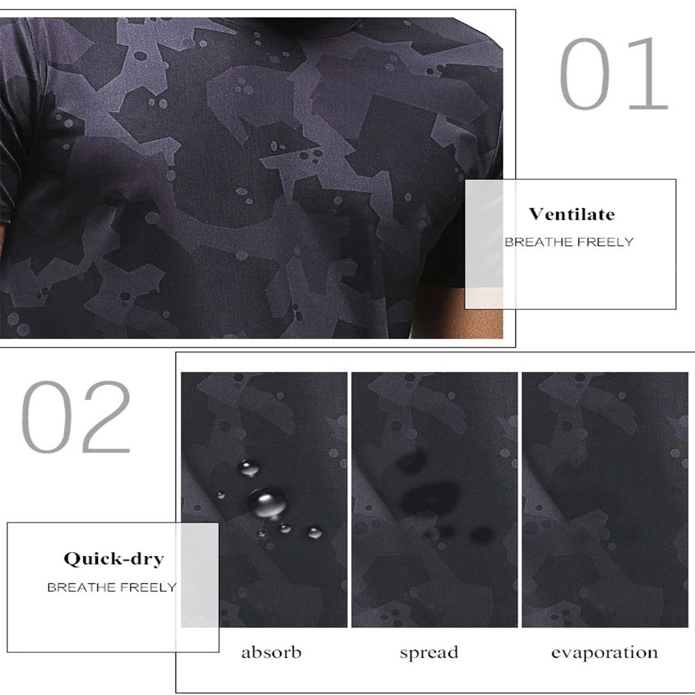 Quick-drying Elastic Sports T-Shirt Breathable Absorbent Gym Clothes