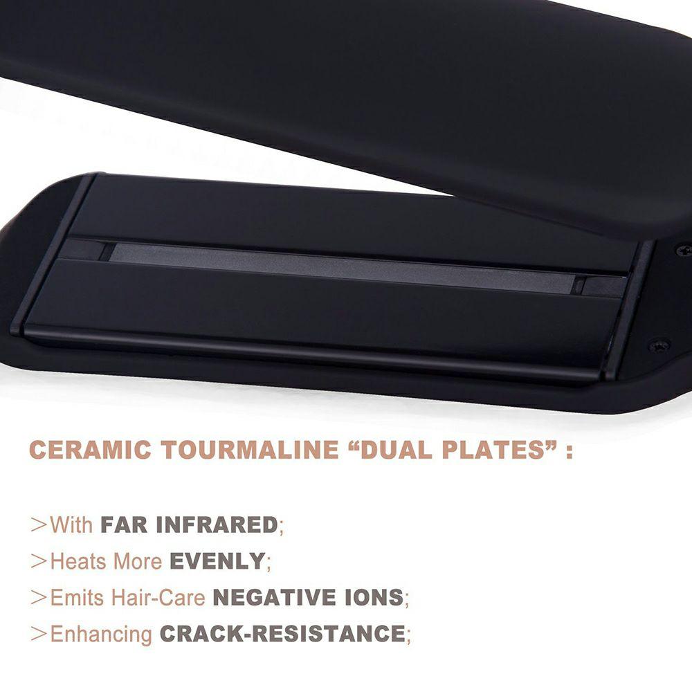 Professional 2 Inch Dual Voltage Hair Straightener Ceramic Tourmaline Infrared Ionic Flat Iron