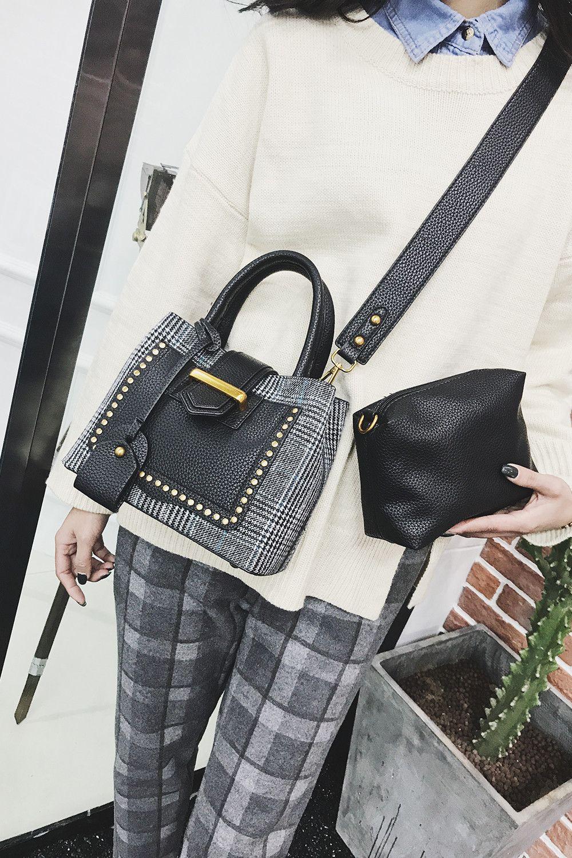 Fashion Woolen Women New Rivets Portable Shoulder Messenger Bag