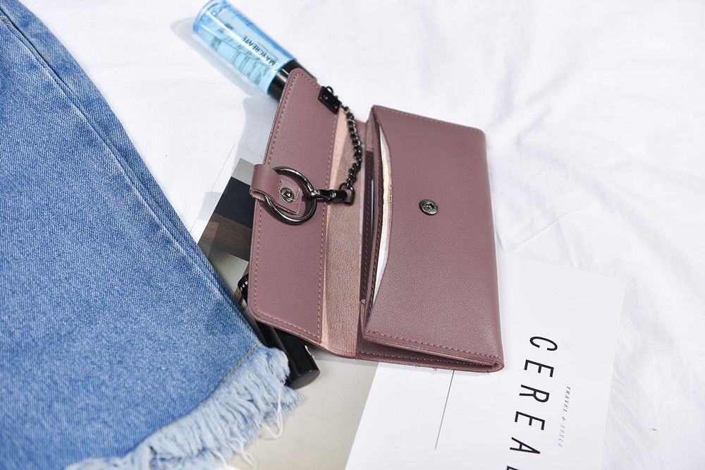 Female Long Business Fashion Chain Multi-functional Buckle High-capacity Women's Wallets