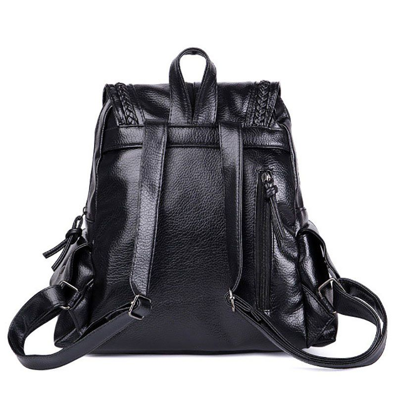British Casual Leather Backpack Fashion College School  Shoulder Bag