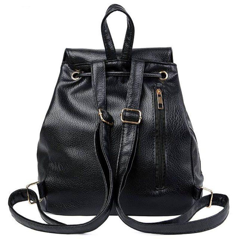 Leisure Leather Backpack Fashion College School  Teens Shoulder Bag