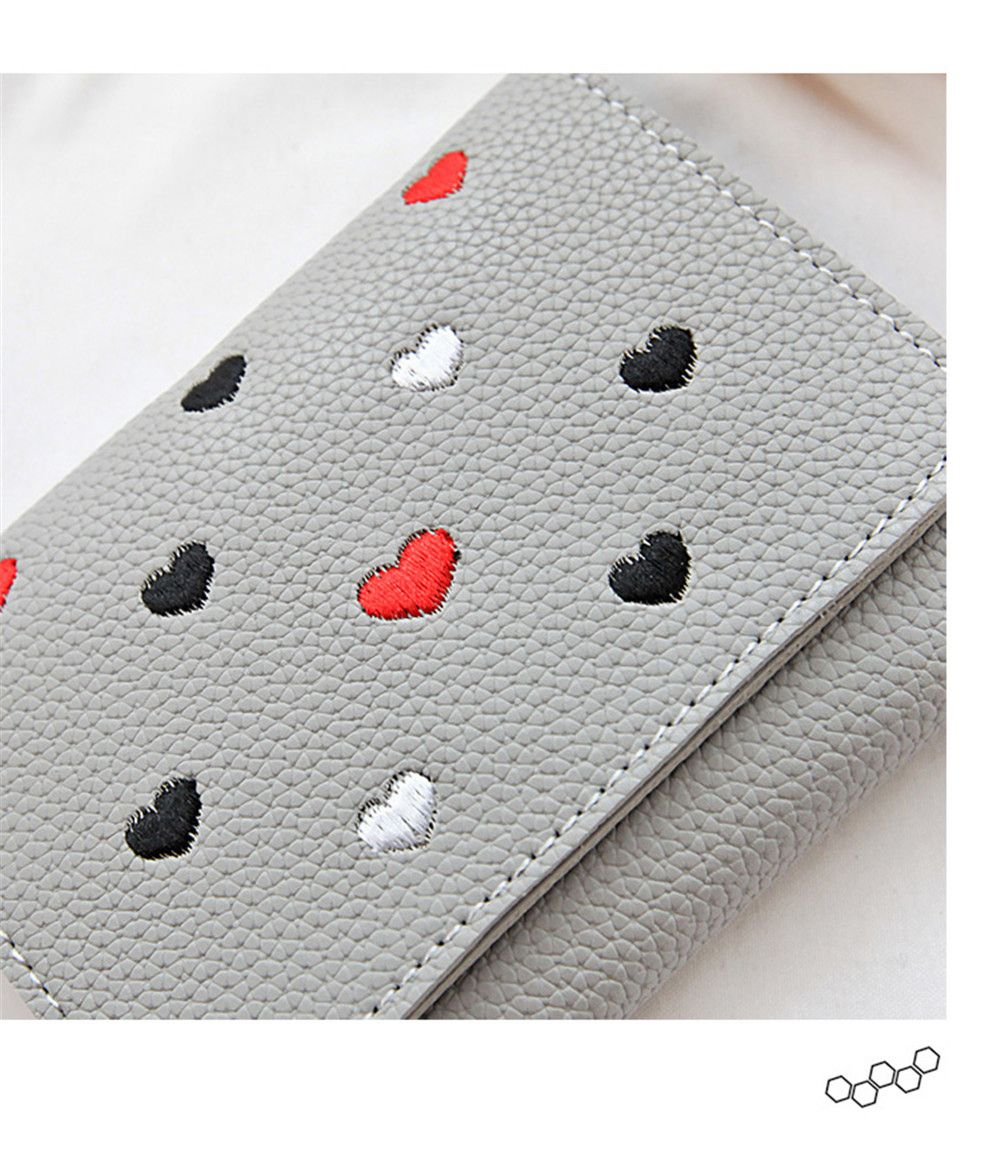 Simple New Embroidery Peach Heart Short Paragraph Small Fresh Fashion Folding Student Wallet