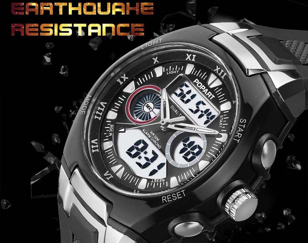 POPART 769AD Trendy Sports Rubber Band Waterproof Unisex Wristwatch