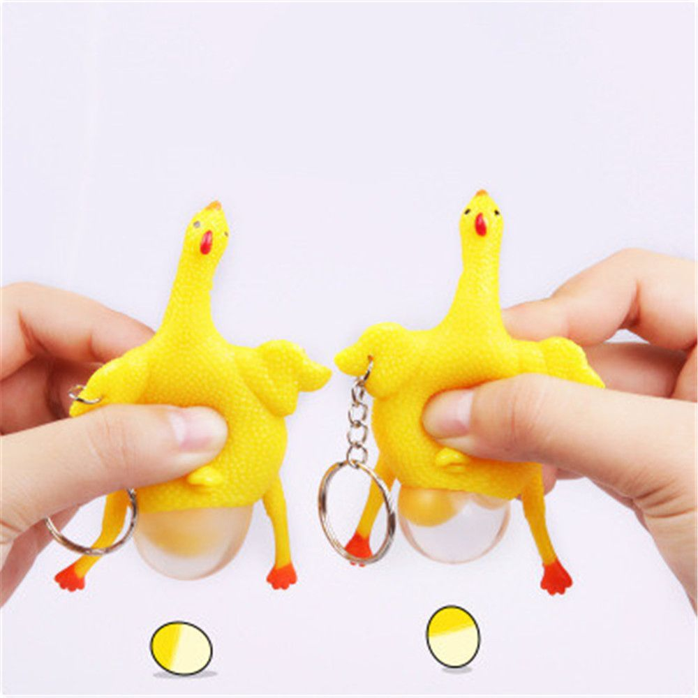 Decompression Toys Laying Egg Hens Funny Relax with Ring - Yellow Fidget Spinner
