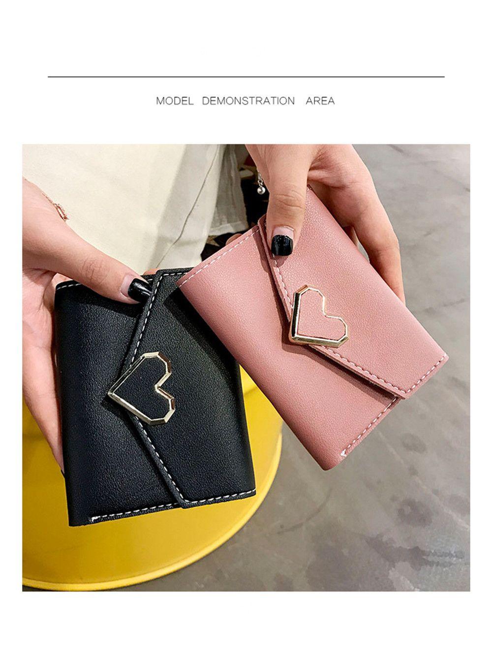 Fresh Metal Heart-Shaped Short Women Three Fold Small Wallet