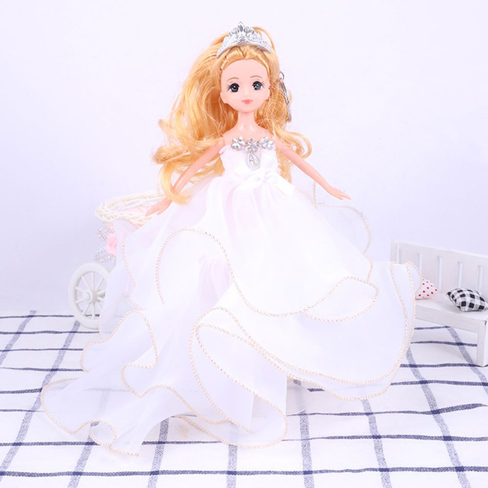 26 Cm Lovely Lace Wedding Dress Gir Doll Toy Pendant