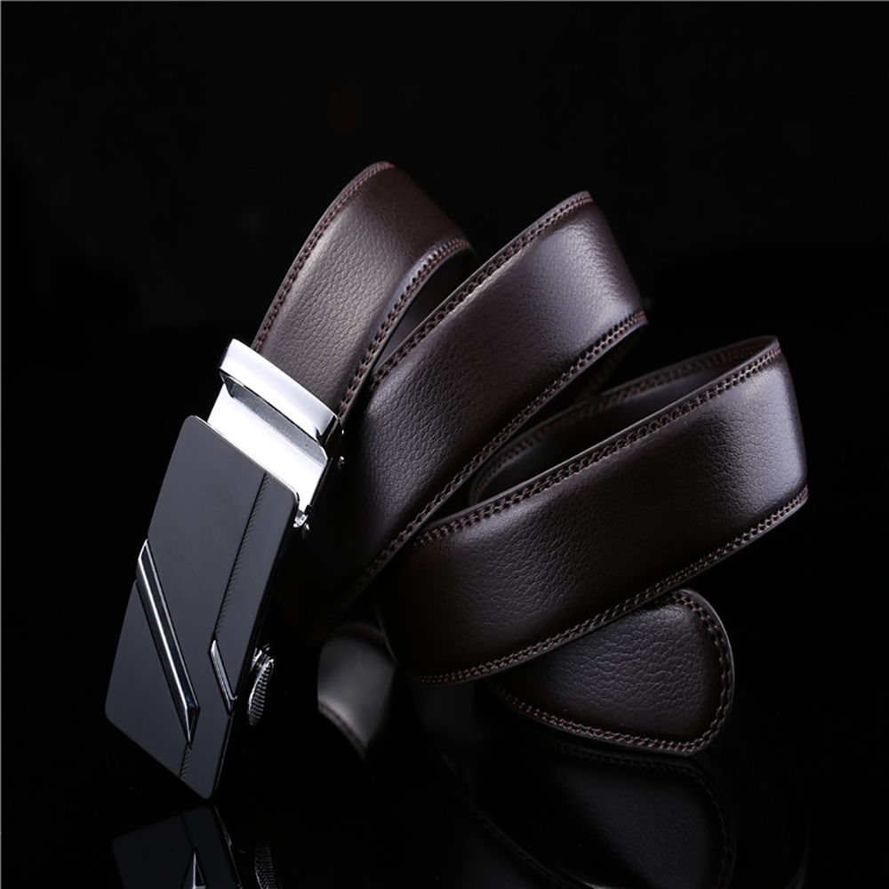 Simple Genuine Leather Belt for Men with Automatic Buckle