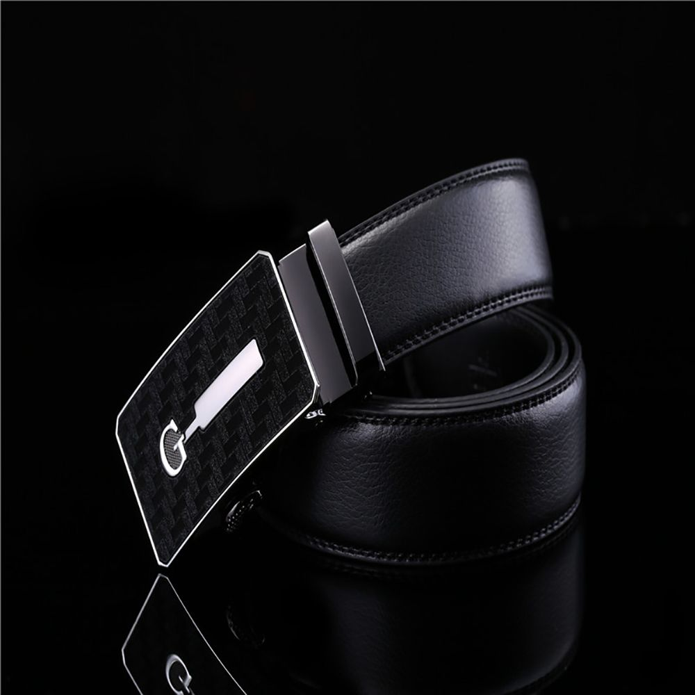 Men's Simple Solid Buckle with Automatic Ratchet Leather Belt