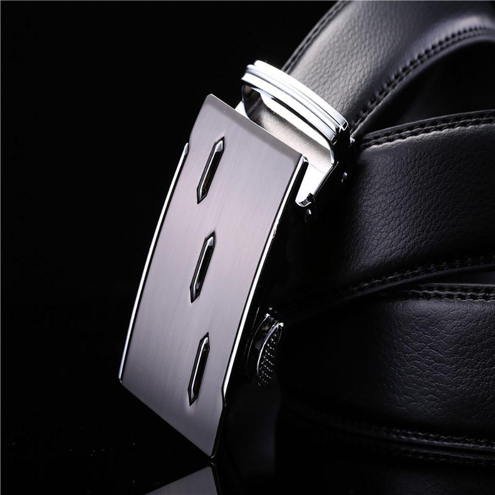 Men's Leather Ratchet Belt Automatic Sliding Buckle Designer