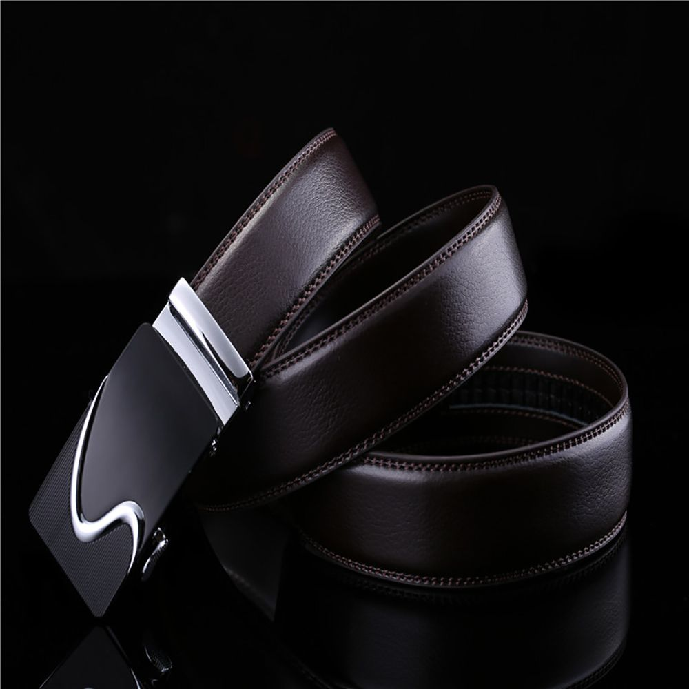Men's Leather Belt Reversible Rotated Simple Automatic Buckle