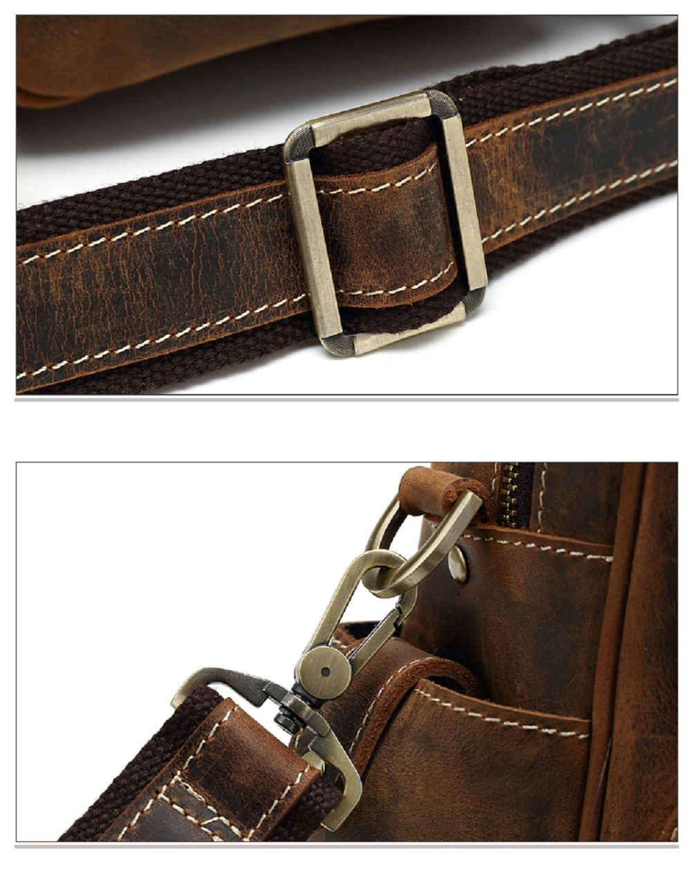 AUGUR Men Genuine Leather Handbag Shoulder Casual Crossbody Bag