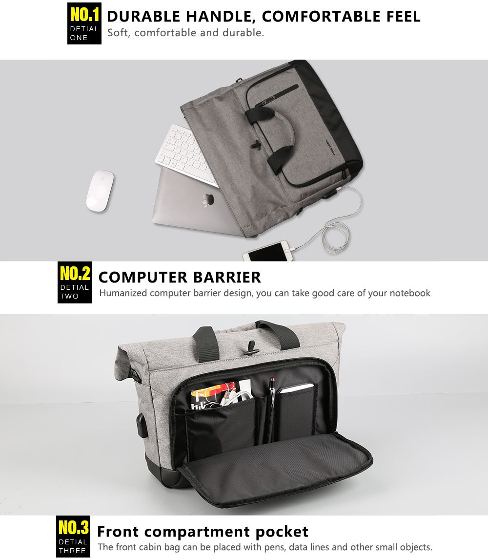 Casual Portable Shoulder External Usb Charging Interface Frivolous Computer Bag