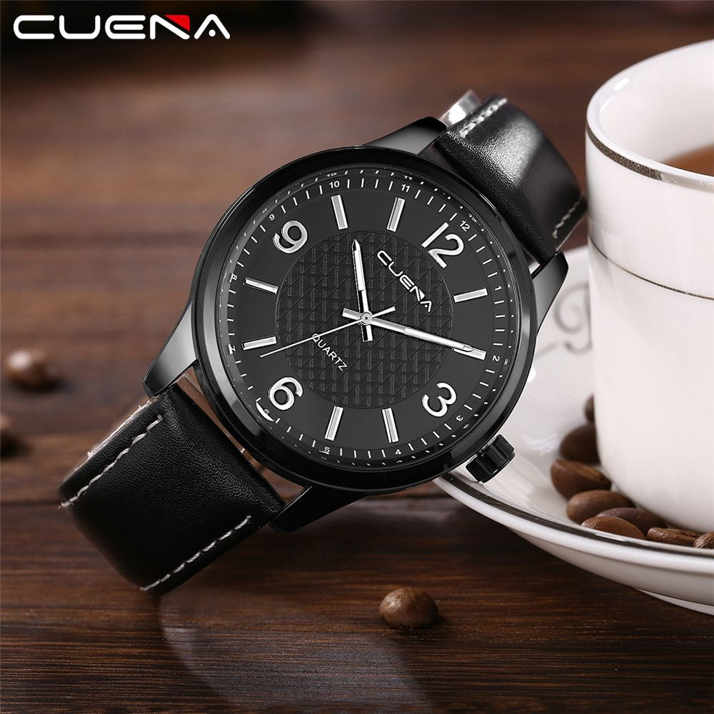 CUENA 6614P Fashion Casual Simple Men's Genuine Leather Band Wristwatch