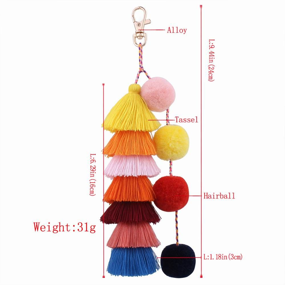 Color Tassel Hairball Bags Hang Key Chain