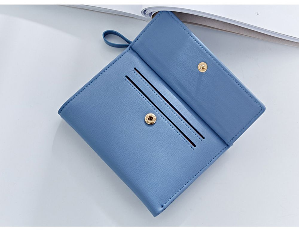 Zipper Short Standard Wallet Fashion PU Leather Solid Coin Card Purse Women Lady Clutch