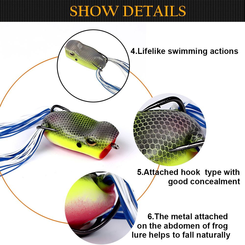 Topwater PVC Material Soft Frog Popping Fishing Lure for Bass Pike Snakehead Dogfish Musky Freshwater Saltwater