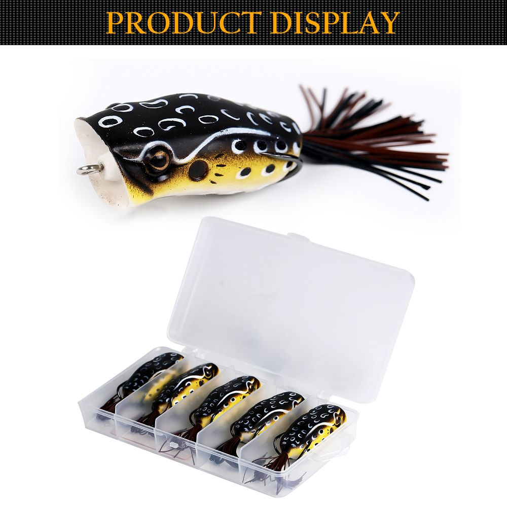 5PCS Floating Hollow Body PVC Soft Frog Pop Fishing Bait with Tackle Box for Bass Pike Snakehead Dogfish Musky