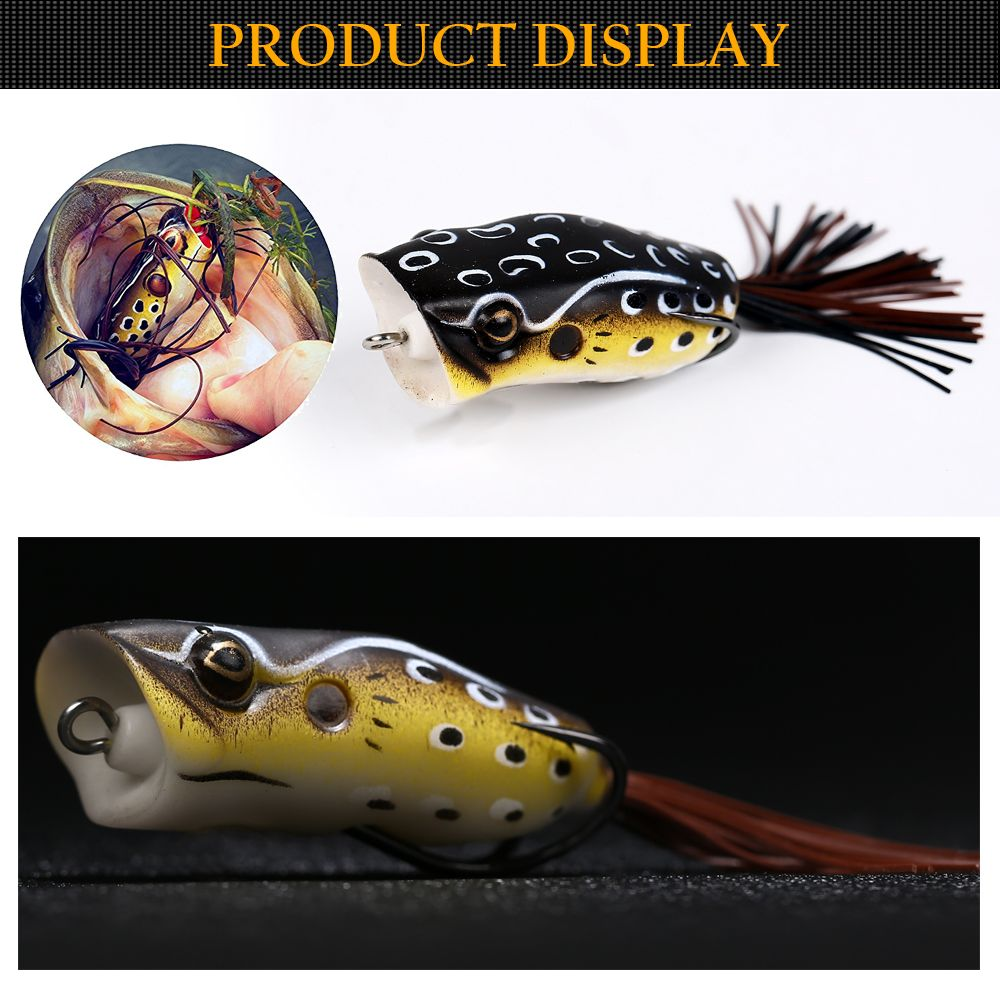 Topwater Hollow PVC Frog Popping Fishing Lure Soft Swimbait with Tackle Box for Freshwater and Saltwater Angling