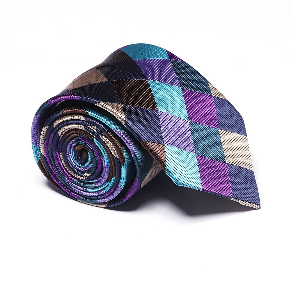 New Fashion Men's Accessories Business Necktie Multicolor Rhombus Lattice Pattern Stylish Plaid Comfy Tie