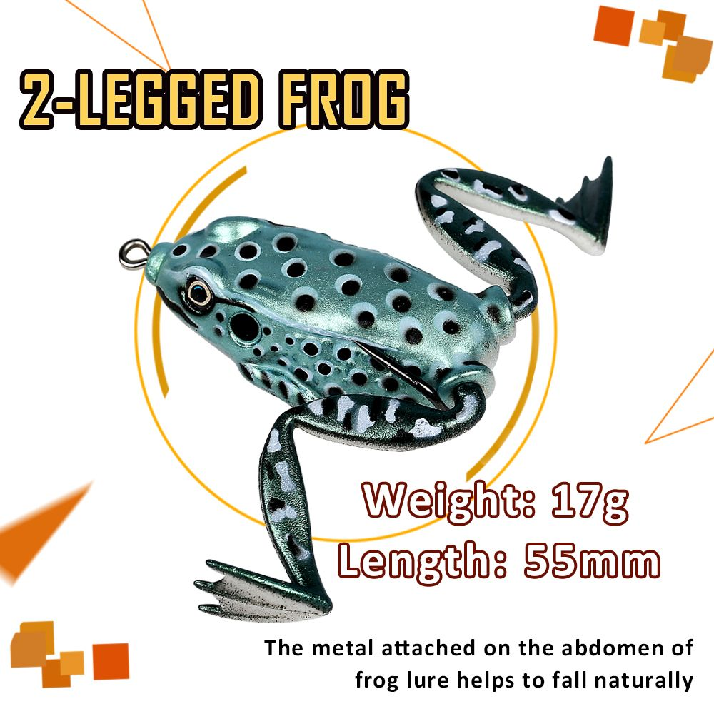 Floating Imitation Legs PVC Material Frog Popping Fishing Lure Soft Swimbait with Tackle Box for Bass Soft Bait Sets
