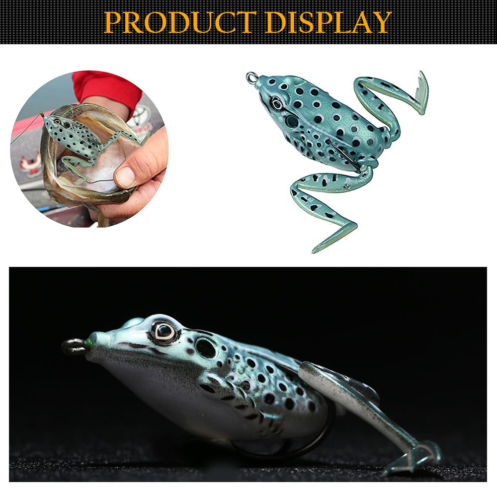 5PCS Topwater Hollow Imitation Legs PVC Material Soft Frog Fishing Lure Soft Swimbait with Tackle Box