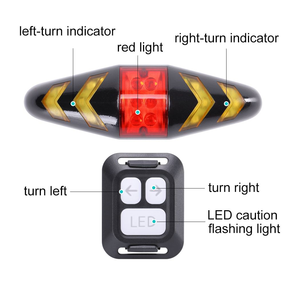 U'King ZQ-C1026 100LM Left Right Turn Indication Red Warning Rear Bike Lamp Tail Light