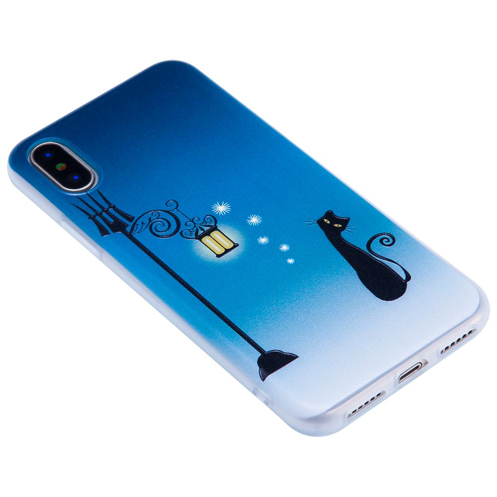 For Iphone X Embossed Matte Transparent TPU Blue Cat Phone Case