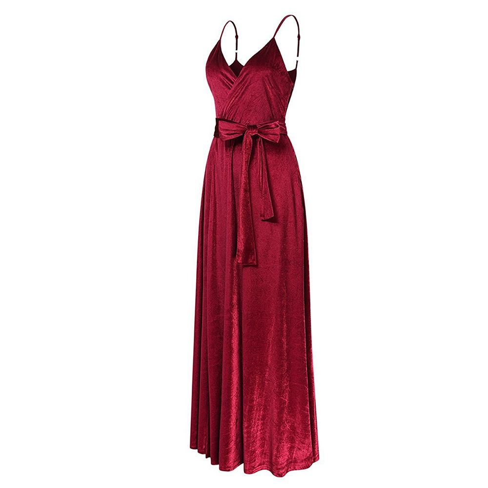 New Velvet Long Evening Party  Women Wrap Spaghetti Strap Sexy Ladies Backless Maxi Elegant Dress