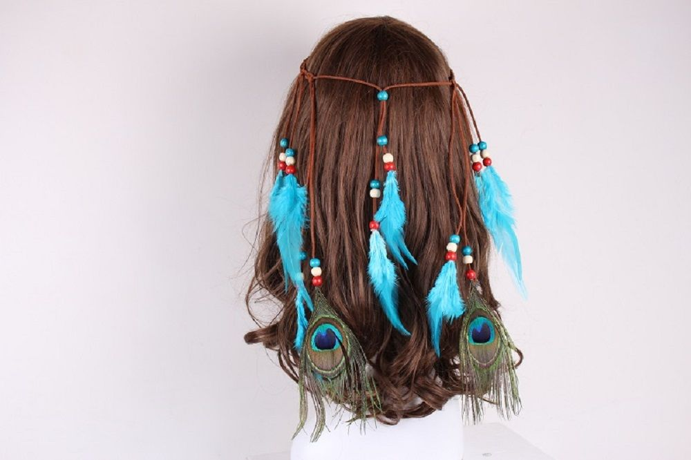 Solid Color Feather Headdress Color Indian Hot Tourist Attractions Hot Headband Photography Accessories