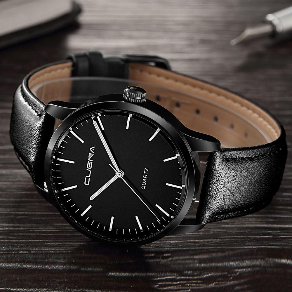 CUENA 6608P Men's Fashion Trendy Leather Quartz Wristwatch