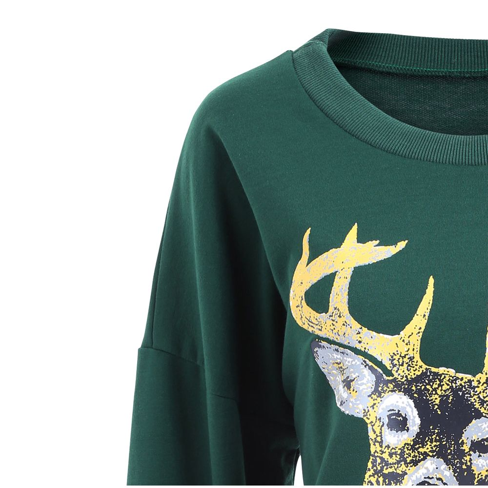 Autumn and Winter New Round Neck Long-Sleeved BF Wind Christmas Elk Printing Sweashirt Women