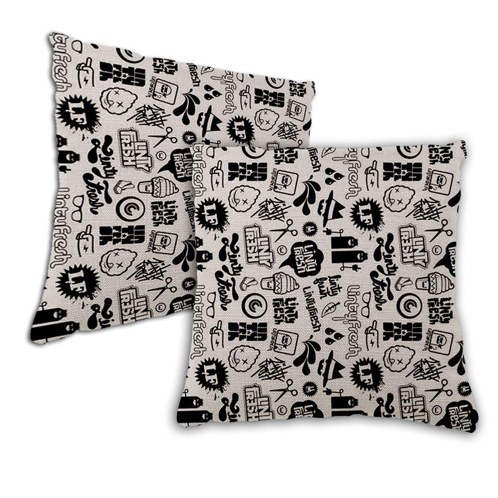 Black White Cartoon Print Home Decoration Pillow Covers