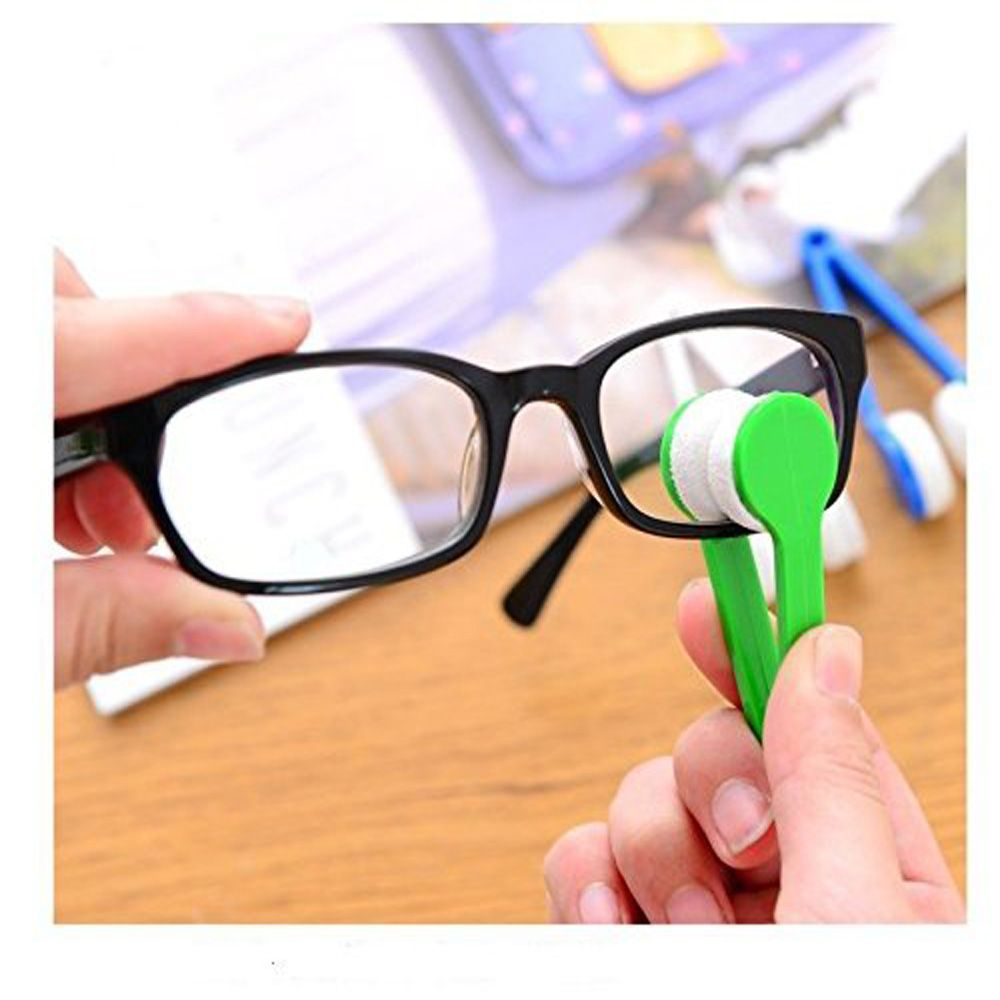 5 pcs Mini Microfiber Spectacles Cleaner Eyeglasses Cleaner Cleaning Clip Soft Brush with Handle (Multi Colors)