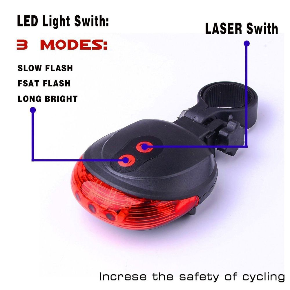 Rear LED Cycling Bicycle Bike Flash Taillight 2 Lasers 5 LED