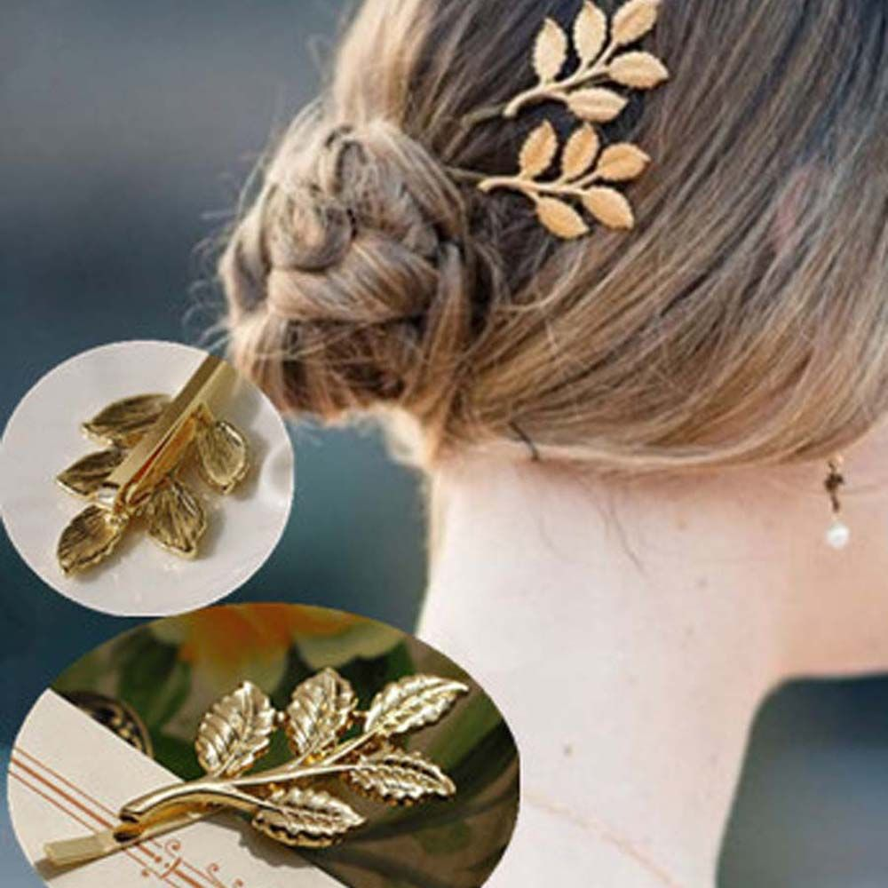 Metal Plant Leaf Branch Hairclip Fashion  Barrette Hair Jewelry For Women Hair Decoration