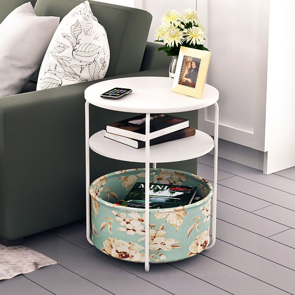 Round Wooden Side Table/End Table,3 Tiers With a Book Storage Canvas Basket Bag