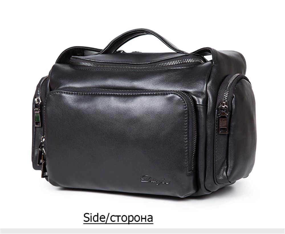 New First Layer of Leather Cross-Section Portable Shoulder Diagonal Package Men'S Fashion Bucket Bag