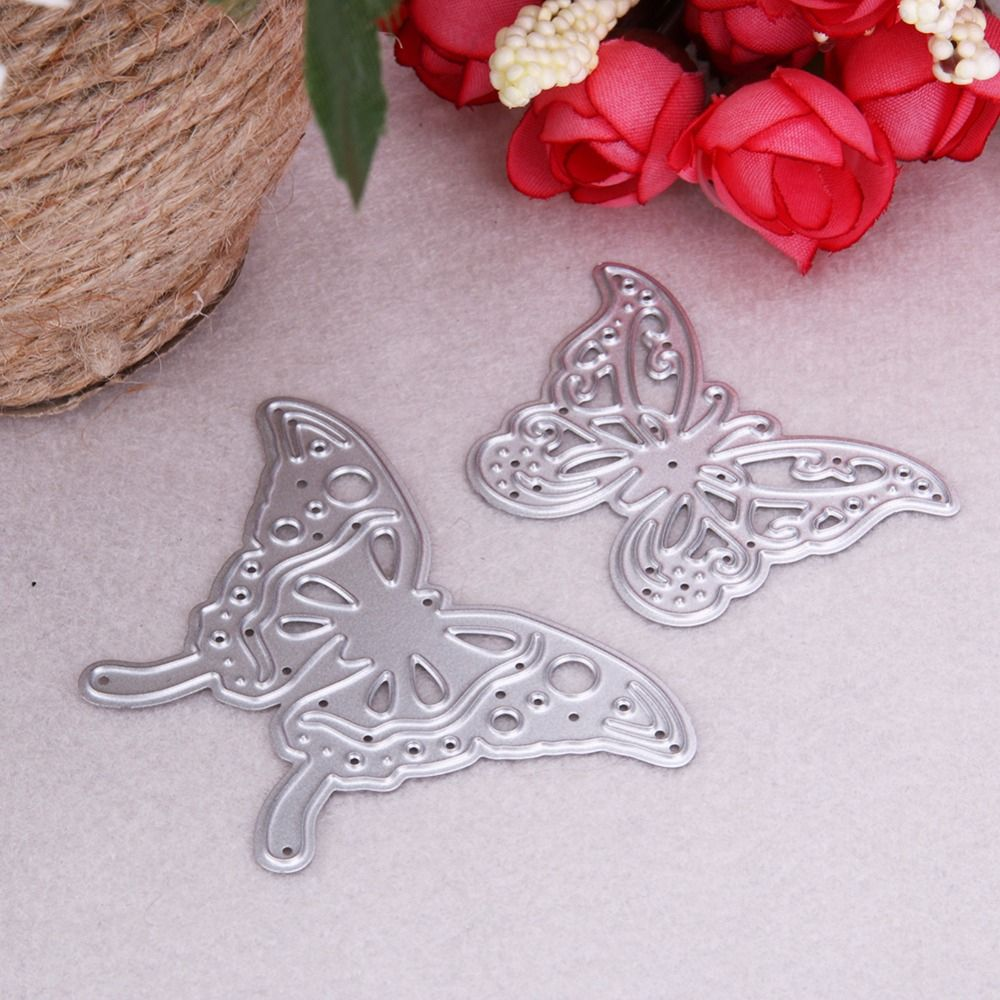 2Pcs Metal Butterfly Cutting Dies Stencils for DIY Scrapbooking Photo Album